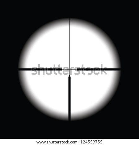 Cross hairs target on black background - stock vector