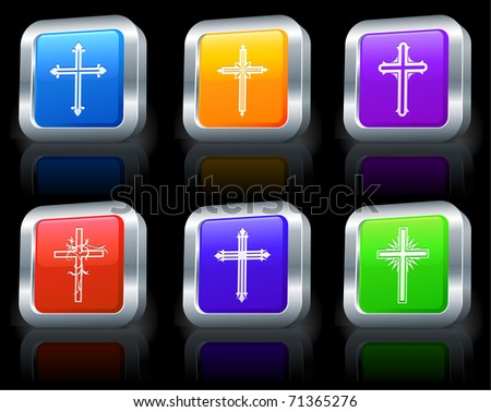 Cross Icons on Square Button Collection with Metallic Rim Original Illustration