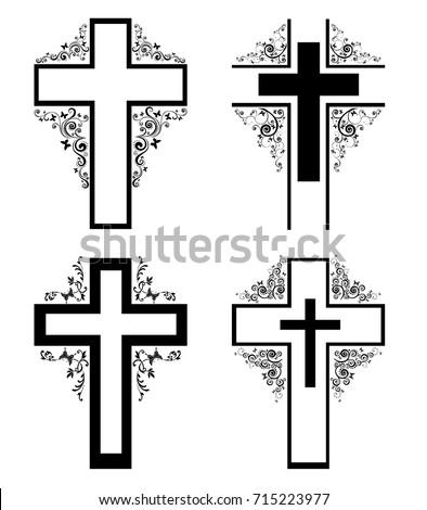 Cross Icons Set Obituary Notice Art Stock Vector (2018) 715223977 ...