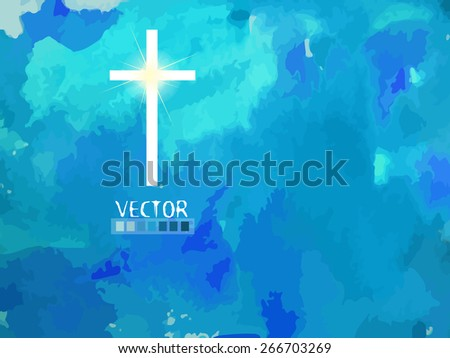 Cross in the sky. Vector - stock vector
