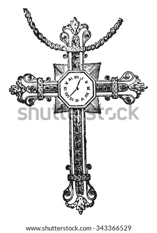 Cross in whose arms were hidden cogs in a clockwork movement, vintage engraved illustration. Industrial encyclopedia E.-O. Lami - 1875. - stock vector