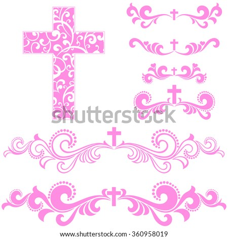 Cross isolated on White background.  Collection of Christian Symbol design elements isolated on White background. Vector illustration  - stock vector
