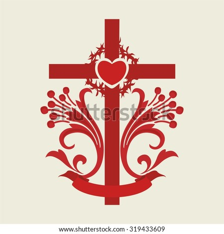 Cross, lilies, heart, red, icon, crown of thorns - stock vector