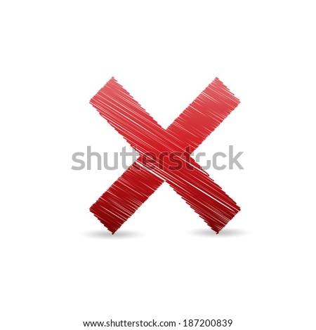 Cross line vector. - stock vector