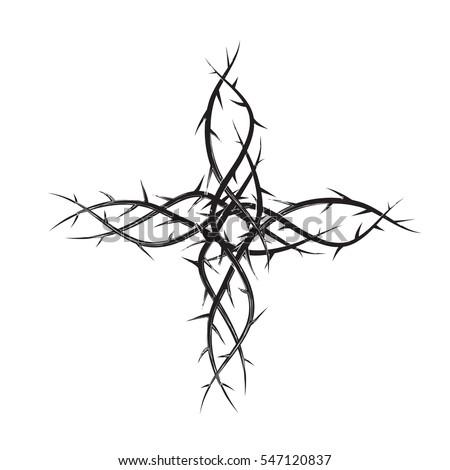 cross thorns black white simple vector stock vector 547120837 shutterstock. Black Bedroom Furniture Sets. Home Design Ideas