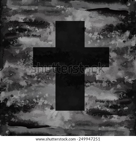 Cross on a gray background. Vector - stock vector