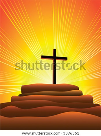 Cross on a hill - stock vector