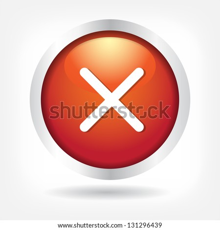 Cross on a red button. Vector Eps 10 - stock vector