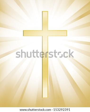 Cross on gold sunburst background - stock vector