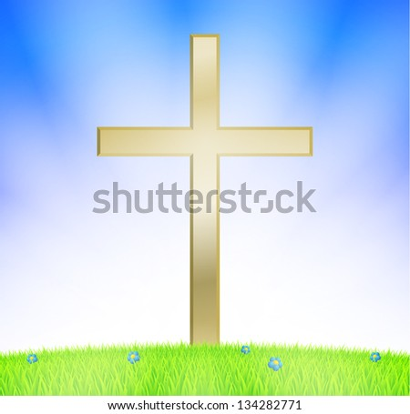 Cross on meadow with sunshine - stock vector