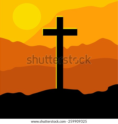 Cross on Sunset. Christian theme, simple illustration, easy to edit. - stock vector