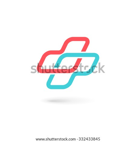 Cross plus medical logo icon design template elements - stock vector