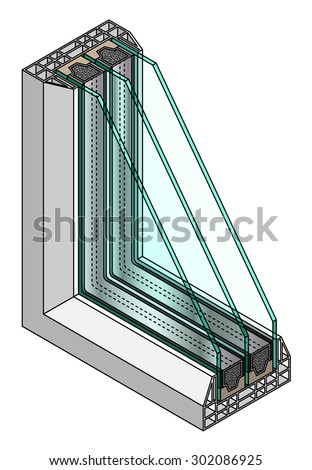 Cross-section diagram of a triple glazed window.  - stock vector