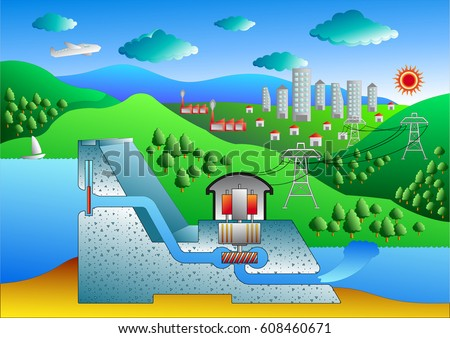 Cross Section Conventional Hydroelectric Dam Diagram Stock Vector