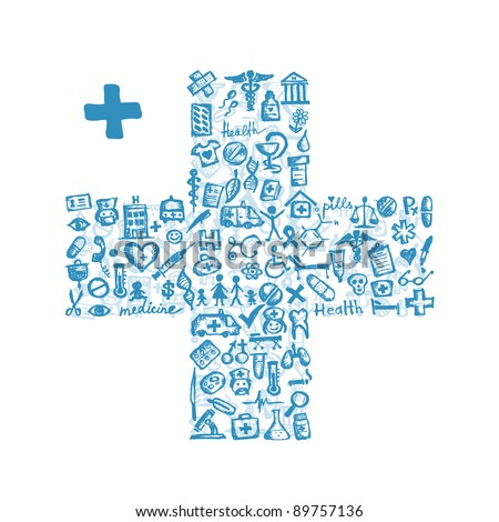 Cross shape with medical icons for your design - stock vector