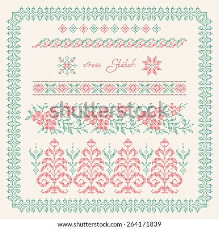 Cross stitch. Embroidered frame in folk style. Ethnic ornament - stock vector