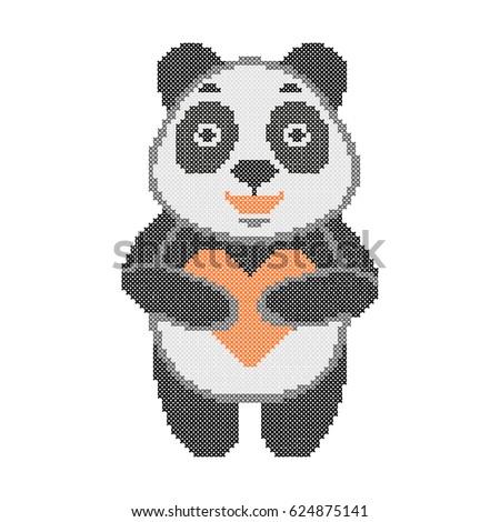 Cross Stitch Embroidery Cute Panda With Heart Pixel Art Cartoon Animal Vector Illustration