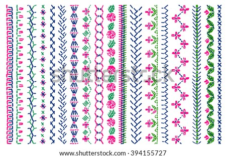 Cross Stitch Pattern Clothing Elements Folk Stock Vector Royalty