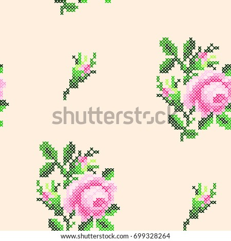 Cross Stitch Roses Pattern Stock-Vektorgrafik 699328264 – Shutterstock