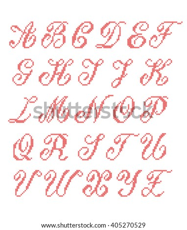 cross stitched fonts latin alphabet for embroidery set cyrillic letters stitch font