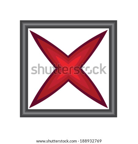 Cross Symbol in a Window isolated on white - stock vector