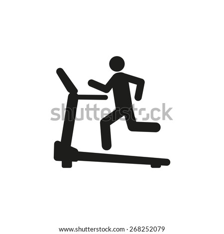 Cross trainer machine icon. Running symbol. Flat Vector illustration - stock vector