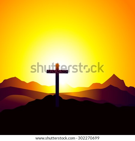 Cross Under Sunrise on Mountain