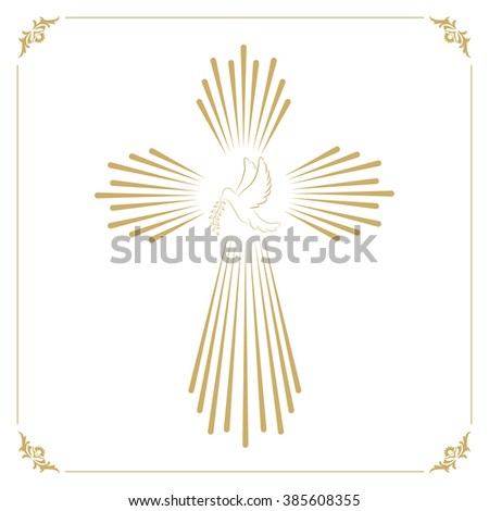 Cross with the dove. Church emblem template. Vector design element. - stock vector