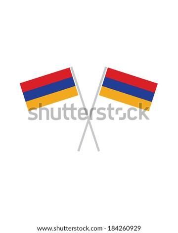 Crossed Armenian Flags - Vector - stock vector