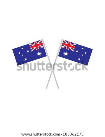 Crossed Australian Flags - Vector - stock vector