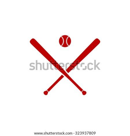 Crossed baseball bats and ball. Red flat icon. Vector illustration symbol - stock vector