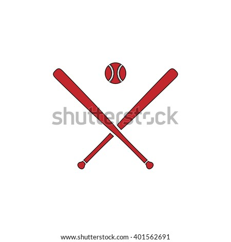 Crossed baseball bats and ball. Red flat simple modern illustration icon with stroke. Collection concept vector pictogram for infographic project and logo - stock vector