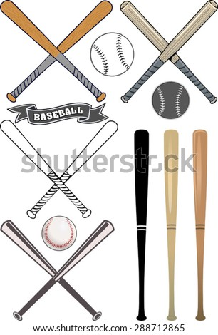 crossed baseball bats and ball set - stock vector