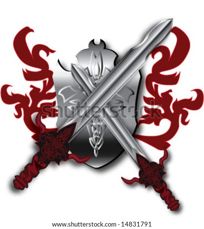 crossed celtic swords coat of arm silver red vector illustration