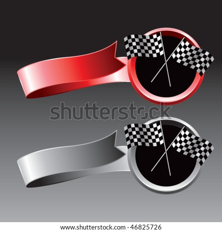 crossed checkered flags red and gray ribbons - stock vector