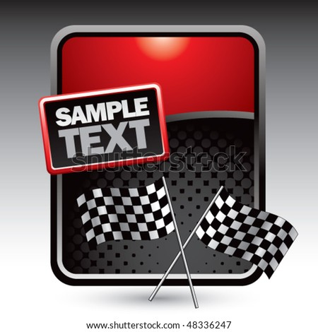 crossed checkered flags red stylized template - stock vector
