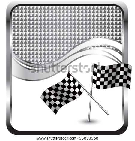 crossed checkered flags silver checkered wave - stock vector