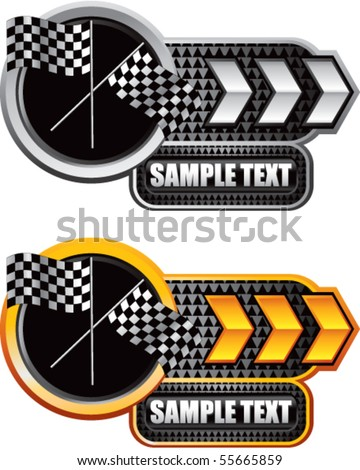 crossed checkered flags white and gold arrow nameplates - stock vector
