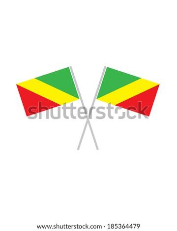 Crossed Congo Flags - Vector - stock vector