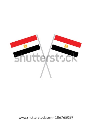 Crossed Egypt Flags - Vector - stock vector