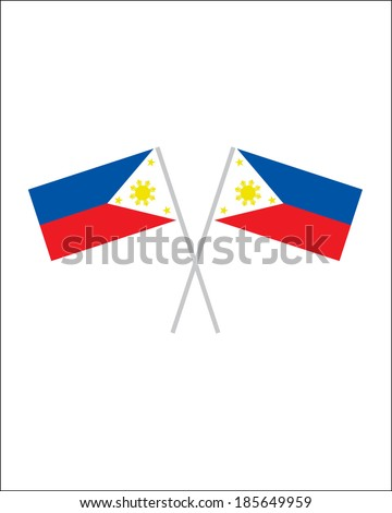 Crossed Filipino Flags - Vector - stock vector