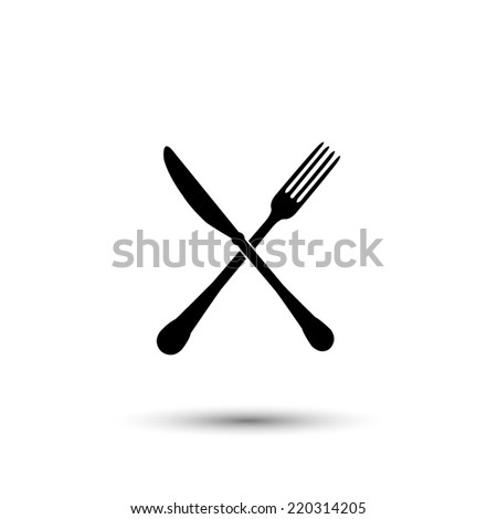 crossed fork and knife icon - black vector illustration  - stock vector