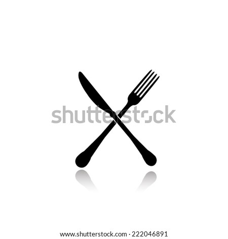 crossed fork and knife icon - black vector illustration with reflection - stock vector