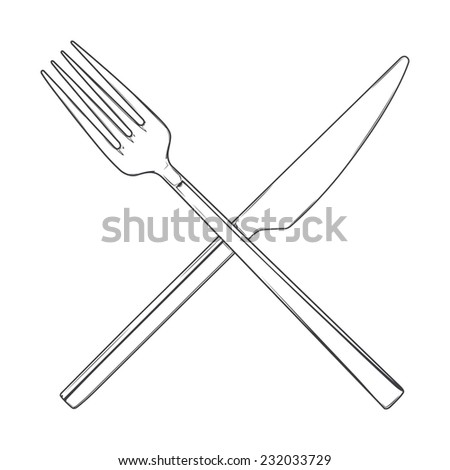 Crossed Fork and Knife isolated on a white background. Cutlery concept. Hand drawn line art. Retro design. Vector illustration. - stock vector