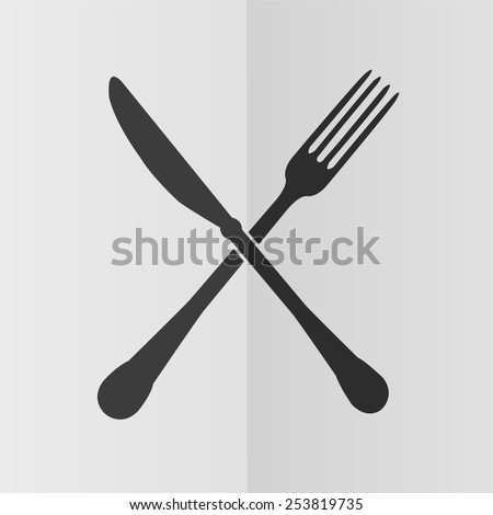 Crossed fork and knife vector icon. Effect of folded paper. Flat design - stock vector