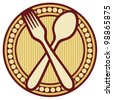 crossed fork and spoon design (crossed fork and spoon symbol, badge) - stock photo