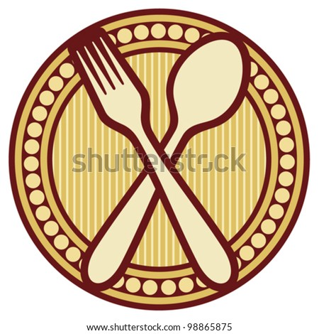 crossed fork and spoon design (crossed fork and spoon symbol, badge) - stock vector