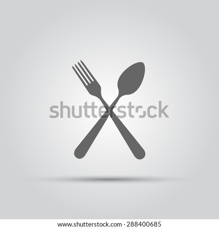 Crossed fork and spoon isolated vector silhouette icon - stock vector