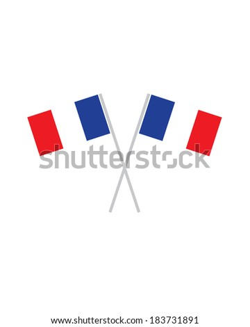 Crossed French Flags - Vector - stock vector