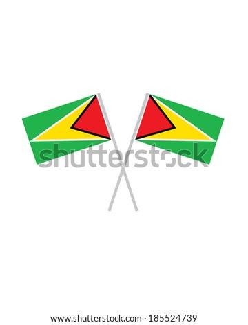 Crossed Guyana Flags - Vector - stock vector
